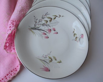 Vintage Royal Duchess Mountain Bell Pink Bavarian Bread and Butter Plates Set of Seven