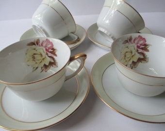 Vintage Teacups and Saucers Narumi Yellow Rose Occupied Japan Set of Four