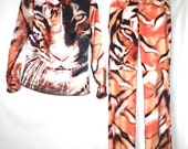 90s Eye of the Tiger All Over Print Flared Pants