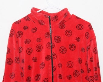 90s Pop Art  Red Vintage 1990s Abstract Squiggle Print Jacket