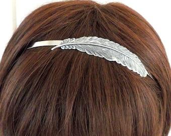 Steampunk Feather headband- Metal Headband- Silver Feather Headband