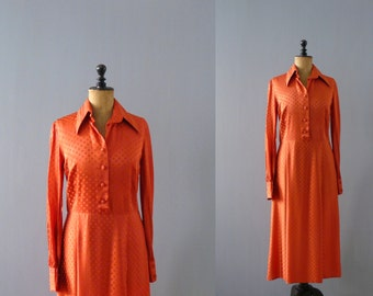 Vintage 1970s dress. 70s orange shirtwaist dress