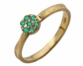 14k Gold Emerald Cluster Floral Ring