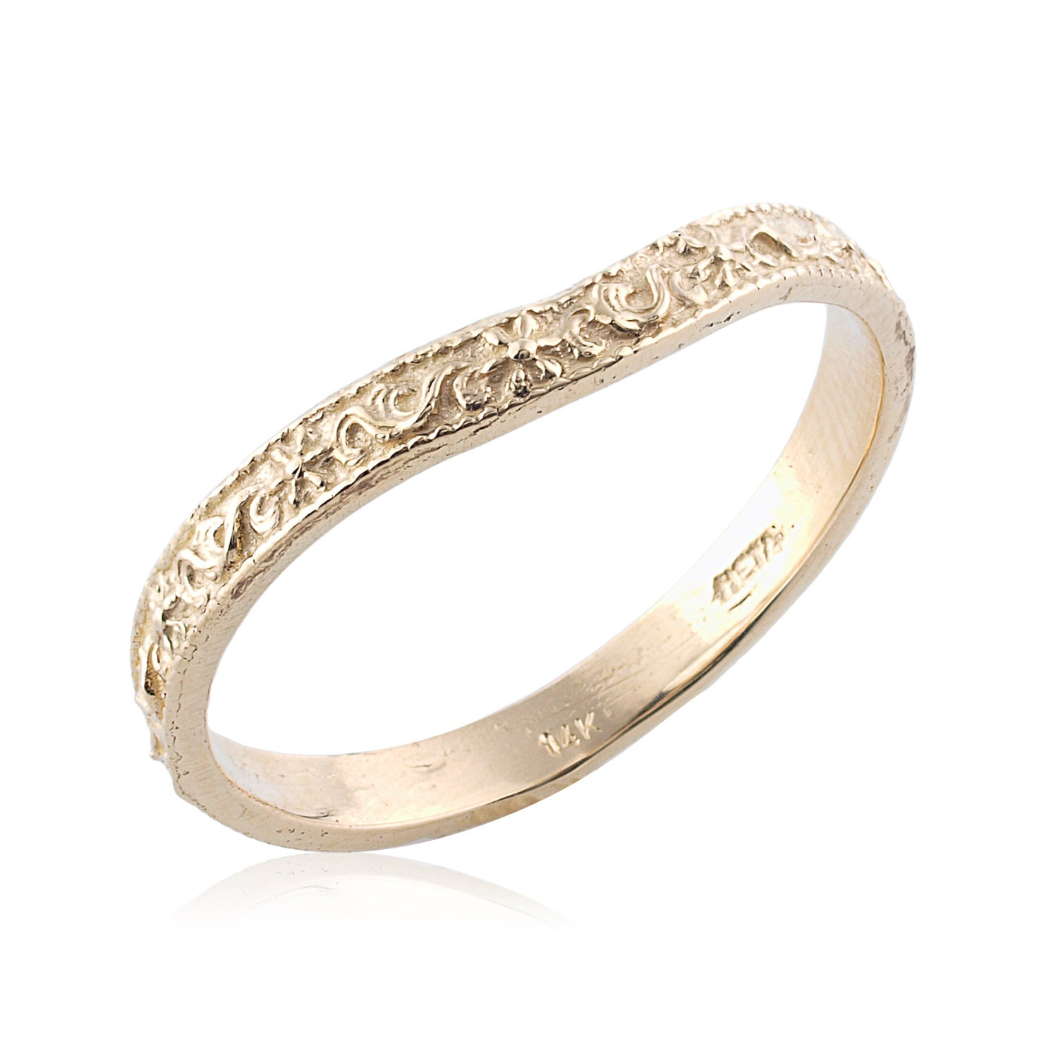 Curved Wedding Bands: Curved Art Deco Engraved 14K Gold Wedding Band Vintage