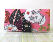 Handmade womens wallet Pink wallet Fun skulls with flowers Jardin de los Muertos - ID clear pocket - Ready to ship