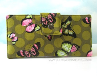 ON sale - Handmade womens wallet - Bright butterflies and dots - Green wallet ready to ship - ID clear pocket - clutch vegan
