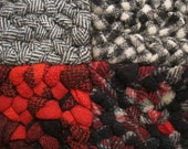 Ready To Ship Wool Rectangular Braided Rug-made of 18 squares of vintage hunting jackets in crimson red, black, and gray