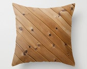 Wood Grain Pillow Cover Rustic Decor Accent Pillow Cushion Cover Handmade Pillow Home Decor Brown Knotty Wood Cabin Decor Gift for Him 18x18