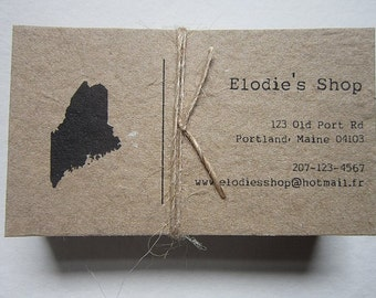 Custom Calling Cards - Handmade Paper Calling Cards - Custom State Printed Cards - Recycled Cards - Eco Friendly Business Cards