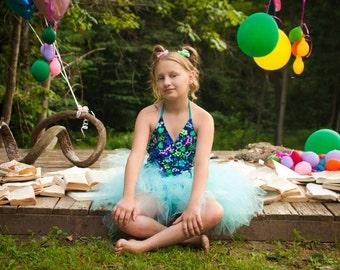 Aqua Childs tutu skirt mini puffy trashy fairy girls todler dance ballet dress up prinesss frozen- 6m-6T- Grow with me - SistersEnchanted
