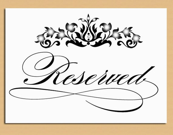 Reserved table sign wedding and event signage printable for Reserved seating signs template