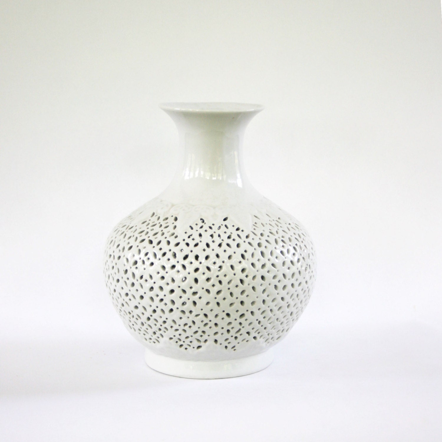 vintage blanc de chine vase white vase pierced by rhapsodyattic. Black Bedroom Furniture Sets. Home Design Ideas