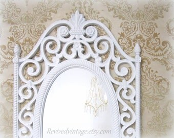 "HOLLYWOOD REGENCY MIRROR For Sale Baby Girl Nursery Regency Decor Glam 31""x17"" Unique Vanity Mirror Decorative Ornate Pink Framed Mirror"