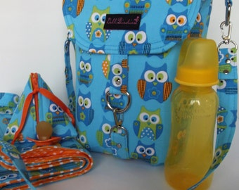 Dollbirdies Original Stroller Diaper Bag with Matching Changing Pad and Paci Pod