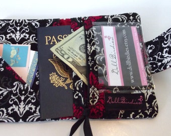 Dollbirdies Small Passport Wallet with Zipper Pouch and ID Window