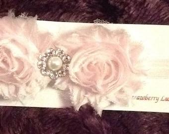 Baby Pink Shabby Rosette Headband