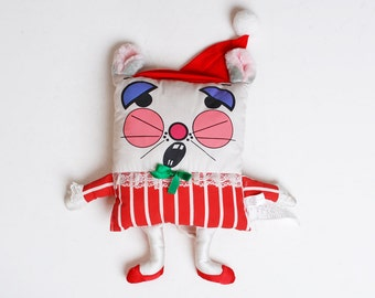 Vintage 80s Pillow People LAL Christmas Mouse