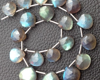 Giant Size, Brand New, Blue Flashy LABRADORITE Faceted Heart Briolettes,12-13mm Long,Amazing Blue Flash