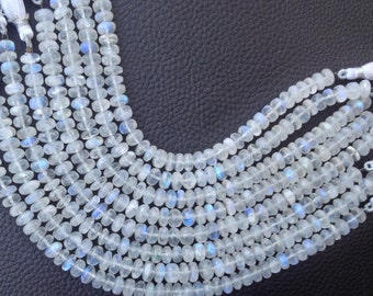 Full 8 Inch Strand, BLUE FLASHY Rainbow Moonstone Smooth Rondelles, 7-7.50mm Size,Great Quality at Low Price