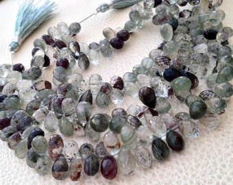 AMAZING Rare GARDENLITE Faceted Drops Shape Briolettes,1/2 Strand, Very-Finest RARE Quality 9-9.5mm Long size.