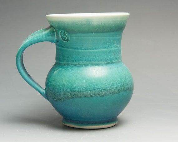 Handmade stoneware coffee mug or teacup turquoise green14 oz 1467