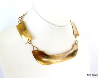 Gold hammered choker, brass statement necklace, modern metal jewelry