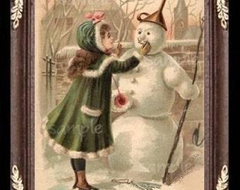 Victorian Snowman Miniature Dollhouse Art Picture 6785