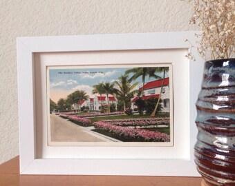 The Bradley Villas, Palm Beach, Florida - framed vintage postcard