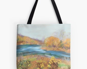 """Riverwalk Landscape Scenery Tote Bag - Artist's Pastel Painting Design. Two Sizes Available Medium 16"""" and Large 18"""""""