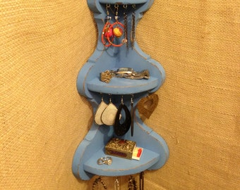 Upcycled Jewelry Organizing Display (Blue Corner Shelf)