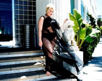 "Boheme Noir Sheer Maxi Gown Size Large-XLarge OOAK ""Voluptuaria"""