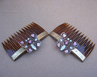 Vintage hair combs 2 Hollywood Regency rhinestone hair comb accessories hair pin hair slide (e)