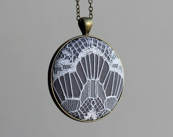 Large Art Deco Pendant, Gray And White Necklace For Women, Geometric Lace Jewelry, Handmade