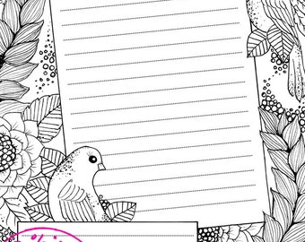 Bird themed notepad Printable pdf file
