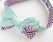 Aqua Dusty Shale Silk Bow Tie with Plum Gingham Reverse