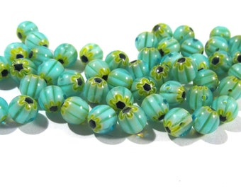 Millefiori Glass Beads 6mm VINTAGE Beads Fifty (50) MILLEFIORI Beads Blue Yellow Jewelry Supplies Beading Supplies Unused Store Stock (Y222)
