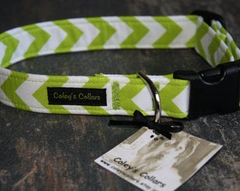 """Dog Collar """"The Chevron in Lime"""""""