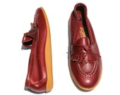 Vintage Sebago Dk. Burgundy/Brown Distressed Leather Fringe Bow Loafers Shoes Sz 7