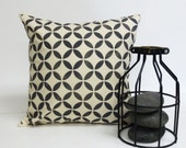 Hand Printed Colorful Pillow with Geometric Mid Century Scandinavian Print