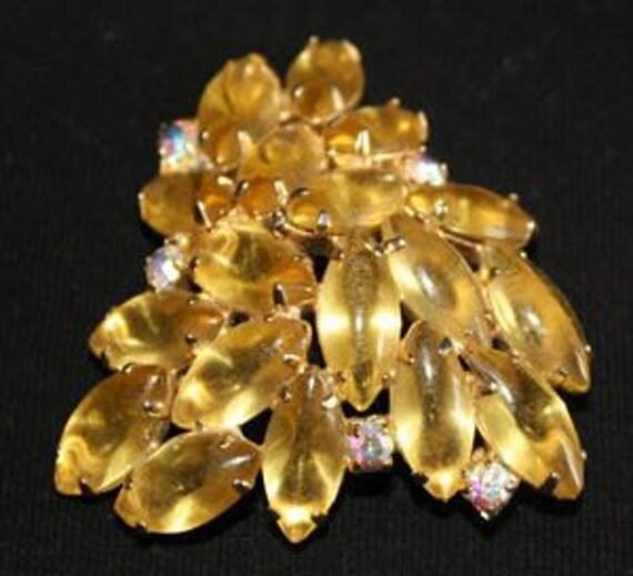 Rhinestone Brooch Amber Large Pin 1950s (sn 107)