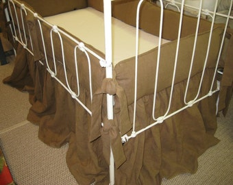 Tailored Crib Bedding in Otter Brown Washed Linen-Tailored Bumpers-Storybook Crib Skirt
