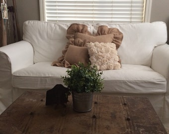 One Pair of Burlap Long Ruffled Pillow Shams- Natural Burlap- Zip Closure-Two Shams-Your Requested Size