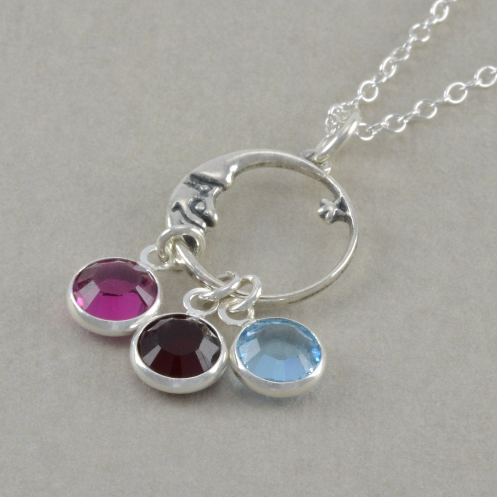 moon and mothers birthstone necklace by