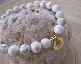 White Beaded Charm Bracelet, Big White Beads, Gold Hamsa Pendant Charm, Howlite Beaded Bracelet, Good Luck Hamsa against Evil Eye