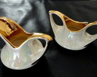 Vintage Mid Century Pearl China Company Ivory Lusterware Small Sugar Bowl and Creamer