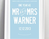 Personalized 1st year wedding anniversary print. A3 luxury poster print.