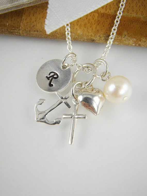 Faith hope love charm initial necklace by shinylittleblessings for Faith hope love jewelry