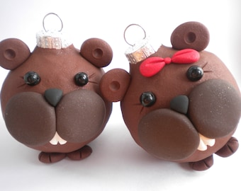 Pair of Beavers Christmas Ornaments