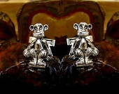 Monkey Cufflinks in solid sterling silver Free Domestic Shipping