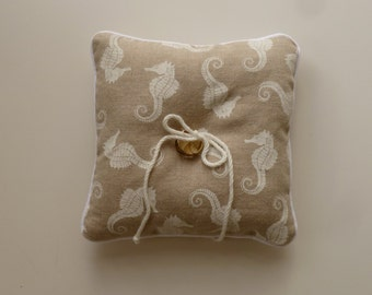 White Seahorses  on Linen Ring Pillow for Your Coastal Wedding